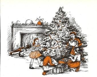 Nursery Rhyme Print - Vintage Children's Orange Story Book Page, Baby Wall Art Print - Christmas Print - Christmas Bells - Longfellow - 1980