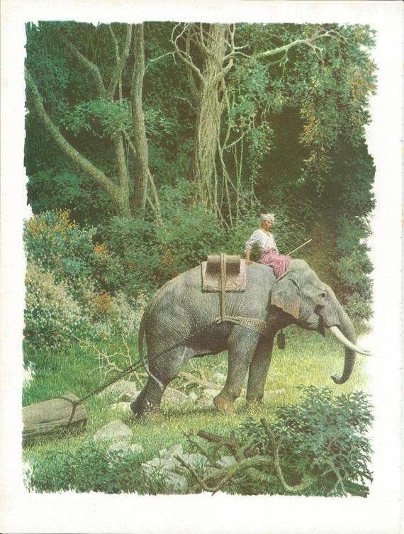 items similar to vintage animal print elephant print