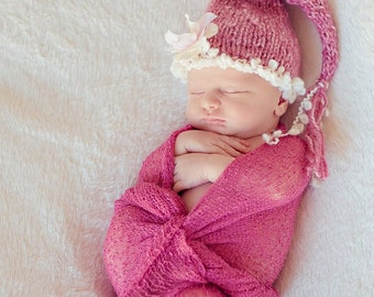 PICK YOUR COLOR Baby Hat, Stocking Newborn Baby Hats, Newborn Photo Prop, Knit Baby Hat, Knit Photo Prop, Baby Hat