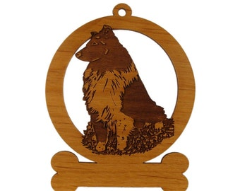 Sheltie BiBlack Sitting Dog Ornament 083931 Personalized With Your Dog's Name