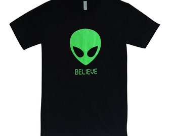 Alien BELIEVE 90's T Shirt - UFO Martian Mens Shirt - (Available in sizes S, M, L, XL)
