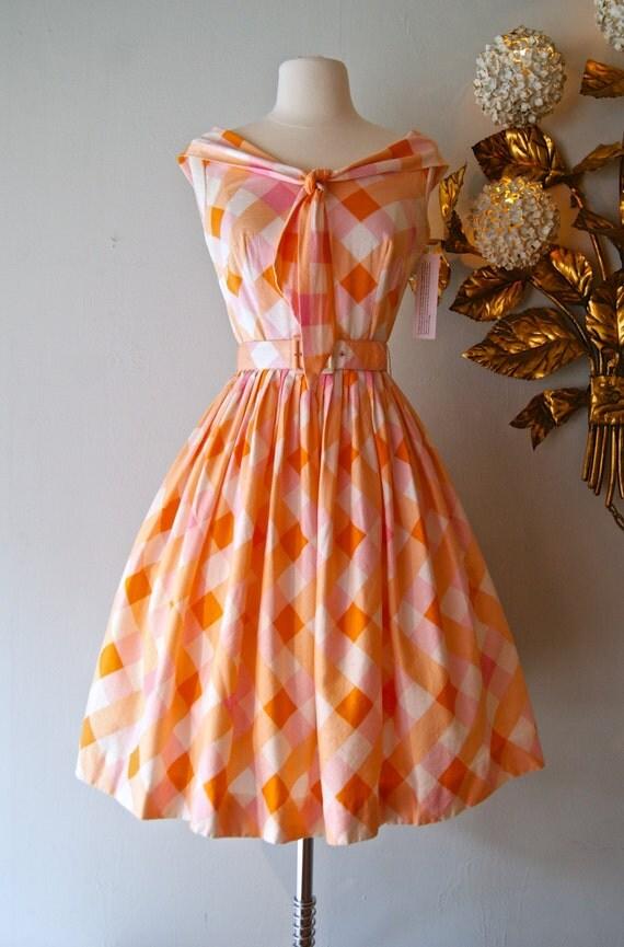 50s Dress Vintage 1950s Orange And Pink Gingham Sundress