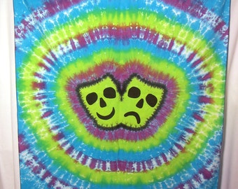 Masks of Comedy and Tragedy  Tie Dye Tapestry