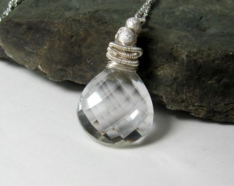 25% OFF Quartz Crystal Gemstone Pendant - 36Ct. Briolette Sterling Necklace