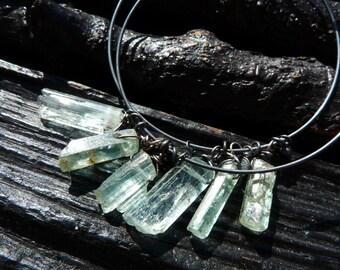 3 DAY SALE aquamarine earrings, hoop earrings, raw aquamarine gemstone earrings, Brazilian jewelry