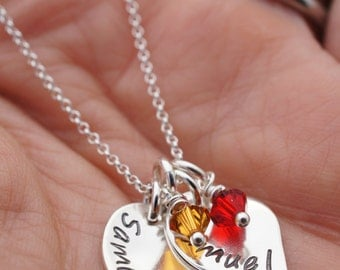 Family Leaves Necklace in Sterling Silver - Baby Name Necklace - Flower Petal Necklace by Eclectic Wendy Designs