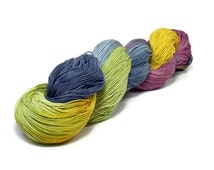 150 Yards Hand Dyed Cotton Crochet Thread Size 10 3 Ply Specialty Yellow Green Red Violet Gray Light Black Purple Mustard Fine Cotton Yarn