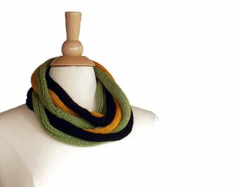 Knit Scarf Knit Cowl Knit Infinity Scarf I Cord Rope Scarf Black Yellow Green Knit Neck Warmer