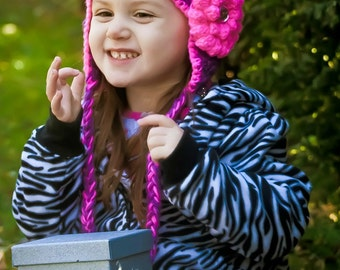 Girls crochet hat - ear flap hat - Toddler hat - Infant hat - Winter hat - purple hat - girls hat - newborn hat - pink hat - baby girl hat