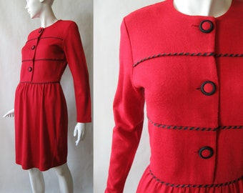 1980's cranberry red wool blend dress with black striped piping and buttons, long sleeves, medium / 10