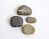 Secret Code Collection 1 - Set of 4 Painted Stones with Nature Inspired Designs - by Natasha Newton