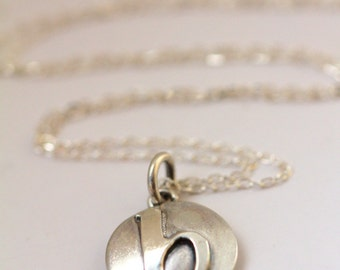 "Custom lowercase inital letter ""b"". Solid Sterling silver disc necklace handmade by Norita Designs"