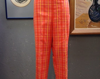 "50's coral, yellow, pink, pants. 33"" waist."