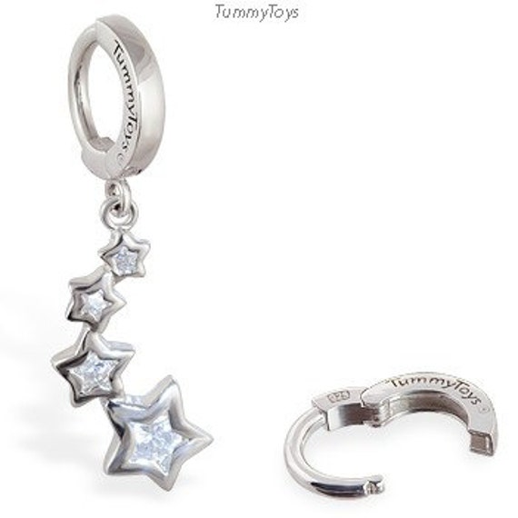 sterling silver belly button ring with cz shooting by