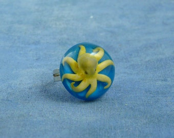 Encapsulated Octopus Specimen ring, Handmade Biology Jewelry