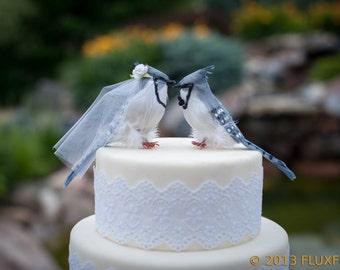 Blue Jay Wedding Cake Topper: Bride & Groom Love Bird Cake Topper -- LoveNesting Cake Toppers