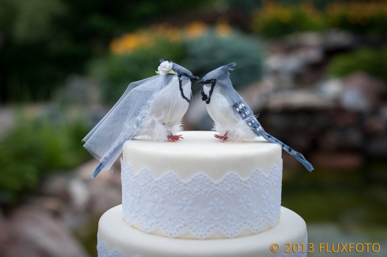 Blue Jay Wedding Cake Topper: Bride & Groom Love Bird Cake
