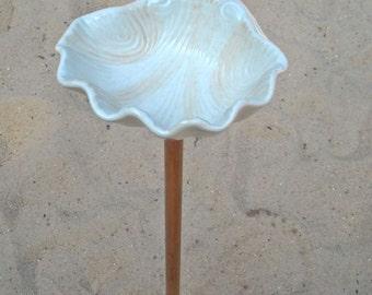 Shell Bird Feeder, Shell Bird Feeder on a Copper Pole, Ceramic Shell Dish on Copper Pole, Bird Feeder on a Copper Pole