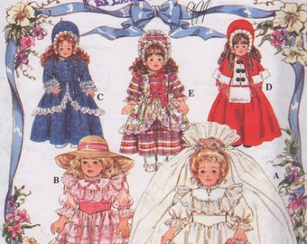 Simplicity 8766  Victorian Doll Clothes Pattern for 16 and 18 Inch Dolls Including 1800s Bridal Dress and Veil Uncut