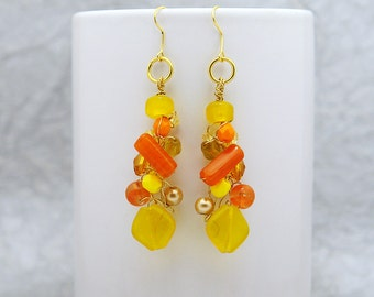 Sun & Summer  -  Crocheted glass and wire earrings in bright lemon and orange