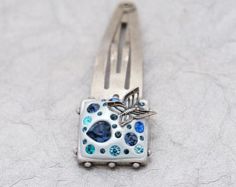 Love and Butterflies Swarovski Hair clip - Sapphire, Montana, Aqua, and Zircon set in pale blue-green and Antiqued Silver