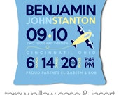 Custom airplane birth announcement throw pillow with blue fabric pillowcase