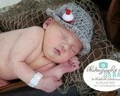 Gray Baby Fishing Hat,  Crochet  Fisherman Hat, Newborn Photo Prop, Gone Fishin' Hat,  Newborn Photography, Size Newborn, Color Gray Marble