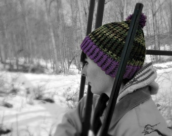 Youth Camouflage Hat with Safety Design Purple Brim Handmade Hand Knit Camo Hunting Gear Thick 100% Cotton Brim Outdoor Gear for Kids