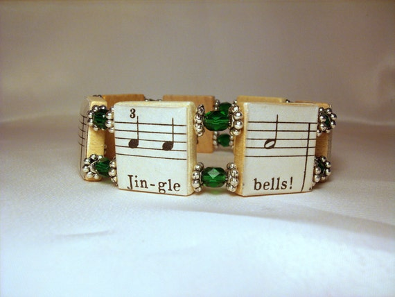 CHRISTMAS JEWELRY / Jingle Bells / Upcycled Scrabble Bracelet / Vintage Music