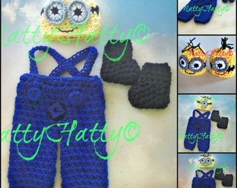 Despicable Me Minion For Boy  Crochet Hat, Overrall , boots , Minion Halloween costume, Despicable me minion baby costume