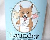 Corgi Laundry Print - 5x7 Eco-friendly Size
