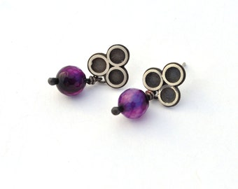 Handmade Sterling Silver Earrings, Post Earrings with Purple Aventurine Beads, Oxidized Silver Earrings, Romantic Jewelry, Stud Earrings