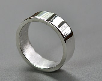 Men's Chunky 7mm Wedding Ring. Sterling Silver High Shine Wide Flat Band. Heavy. Thick. Solid. Mirror. Gloss.