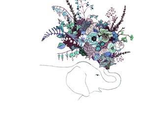 Blue Elephant, flowers. 8x10 print