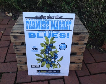 "Farmer's Market ""Blues"" Blueberry Letterpress Poster"