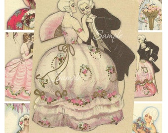 Marie Antoinette, Pierrot, Harlequin and Columbine ATC Tags, Collage Sheet and Clip art Digital Scan Set 04