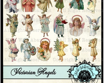 Angel Clipart, Winter Angels, Victorian Angels, Christmas Angels, Cherubs, Hang Tags, Angel Gift Tags, Angel Collage Sheets