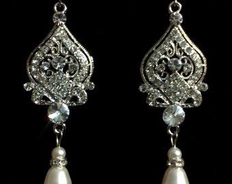 Chandelier Bridal Earrings, Victorian Wedding Earrings, Pearl Drop Wedding Jewelry, Dangle Earrings, Swarovski Crystal Bridal Jewelry, ALLY