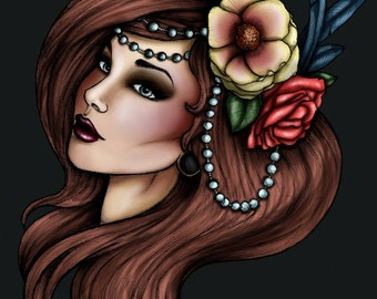 Brunette Pirate with Roses and Pearls Cara Mia A4 Art Print by Hungry Designs