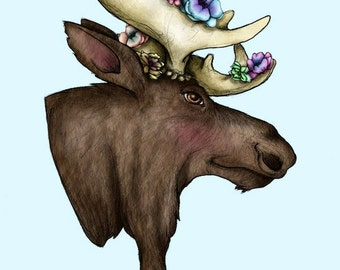 Floral Moose A4 Art Print by Hungry Designs
