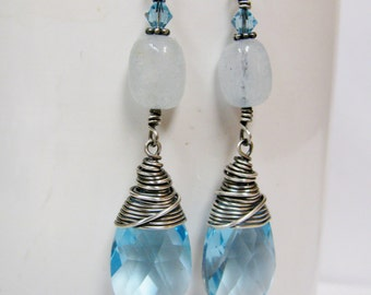 Aquamarine Swarovski Teardrops with genuine Aquamarine nuggets. March Birthstone