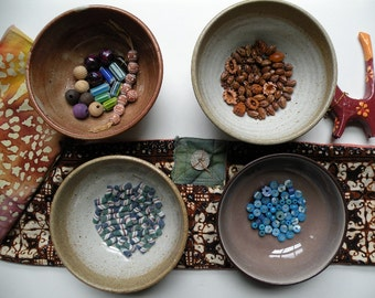 Bead lot, glass tribal African powder trade beads, vintage Native American seeds, clay rounds primitive handmade antique blue green brown i2