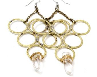 Unique Big Earrings Brass Triangle Earrings Geometric Earrings