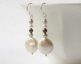Gray Maroon White Coin Pearl Dangle Earrings