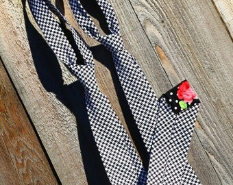 Black and White Houndstooth Matching Ties, 2 Ties, Father Son matching ties, Men's tie, Boy's tie, Family photos, 6m-10y, and mans S,M,L,XL