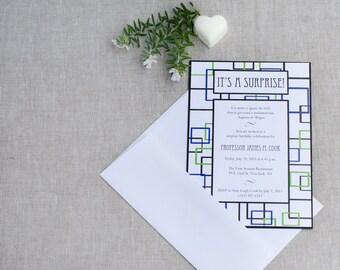 Geometric Birthday Invitation - Geometric Invitation - Modern Birthday Invite - Surprise Birthday Party Invitations - Invitations for Him