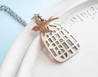 Bird Necklace - Handmade Bird Cage with Gold Sparrow - Free as a Bird Necklace