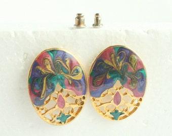 80s Abstract Oval  Earrings Vintage Pierced Multicolor Pink Purple Enamel Filigree Retro