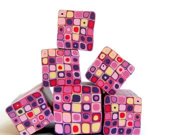 Purple , Pink , Red and cream polymer clay Retro Dots Square cane , raw and unbaked Fimo millefiori cane by Ronit Golan