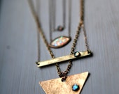 bar necklace, opal, stone, thin, dainty, 14k. gold filled necklace, layering necklace // DOWN THE LINE